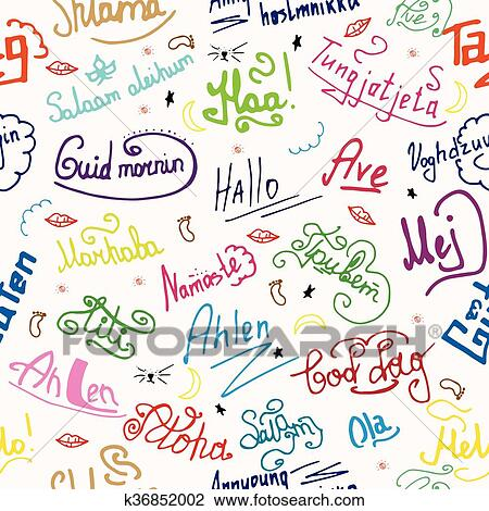 Clipart of seamless texture greetings in different languages clipart seamless texture greetings in different languages background color fotosearch search clip art m4hsunfo