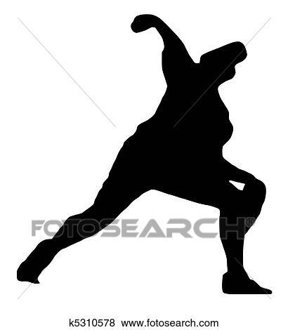 clip art of sport silhouette baseball pitcher k5310578 search