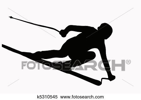 clipart of sport silhouette speeding skier k5310545 search clip rh fotosearch com ski clipart fun skies clip art