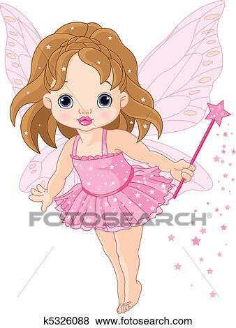 かわいい わずかしか 赤ん坊 妖精 クリップアート K5326088
