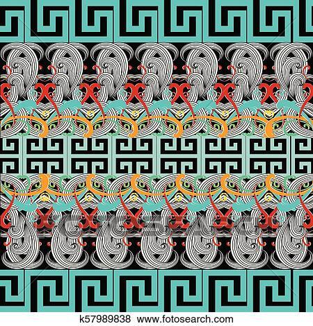 Greek Floral Meanders Seamless Border Pattern Vector