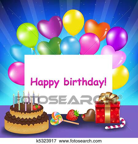 Clip Art Of Happy Birthday Card K5323917 Search Clipart