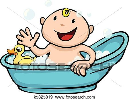 clip art of happy cute baby bath time k5325819 search clipart rh fotosearch com hot tub clipart hot tub clipart