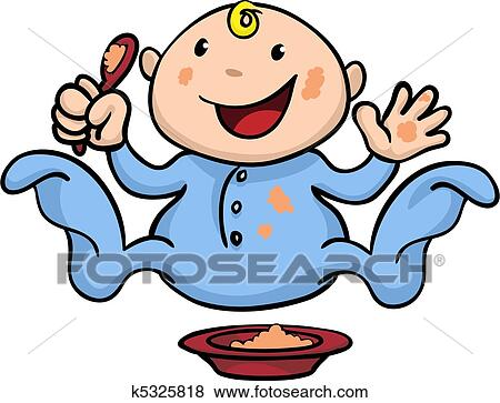 clip art of happy cute weaning baby playing with food k5325818 rh fotosearch com baby eating food clipart baby food clipart free