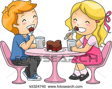Stock Illustrationen Kinder Essen Schokotorte K5324740 Suche