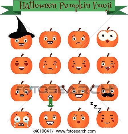 Mignon Halloween Citrouille Emoji Set Emoticons Autocollants Conception Elemets Clipart
