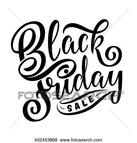 Clip Art - negro, viernes, venta, mano, dibujado, letras, caligrafía ...