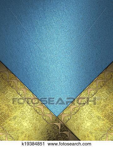 Sfondo Blu Con Grunge Oro Targhetta E Oro Rifilare Su Il