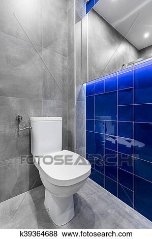 Vidrio azul, cuarto de baño, azulejos, idea Colección de foto