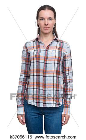 4b5de492fef Stock Image of woman in jeans and checked shirt k37066115 - Search ...