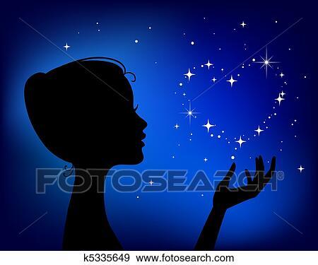 美麗的婦女 黑色半面畫像 由于 星 心美工圖案 K5335649 Fotosearch