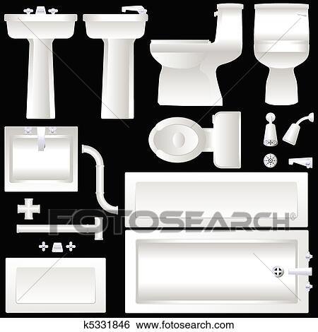 Clip Art - badezimmer, einrichtung k5331846 - Suche Clipart, Poster ...