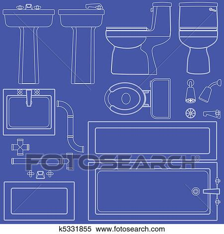 Clipart of blueprint bathroom fixtures k5331855 search clip art clipart blueprint bathroom fixtures fotosearch search clip art illustration murals drawings malvernweather Image collections