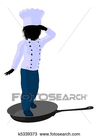 drawing of boy chef silhouette illustration k5339373 search rh fotosearch com Female Chef Silhouette Chef Silhouette Graphics