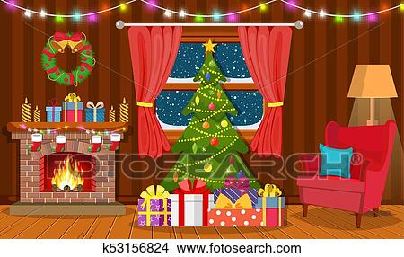 Christmas Interior The Living Room Clipart