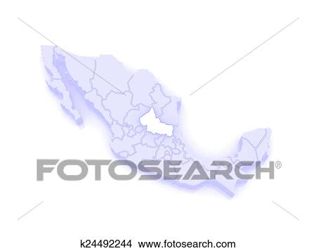 Drawings Of Map Of San Luis Potosi Mexico K24492244 Search Clip