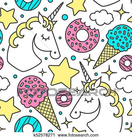 Seamless Modele A Licorne Nuages Etoiles Glace Donuts