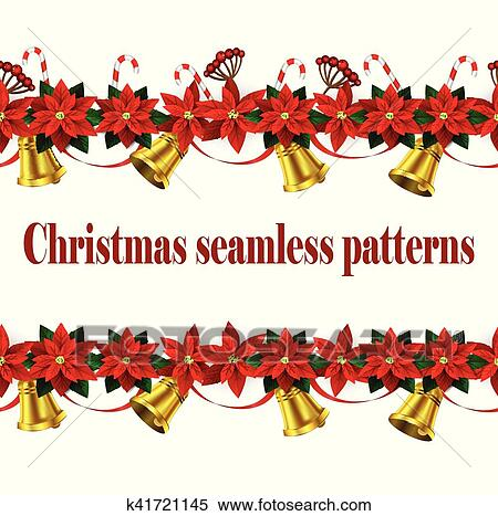 Christmas Borders Clipart.Set Of N Seamless Christmas Borders Clipart