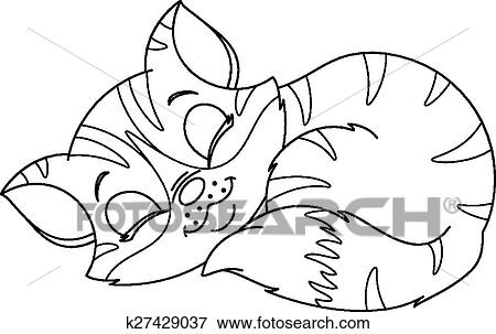 Clip Art Of Sleeping Kitten Coloring Page K27429037 Search Clipart