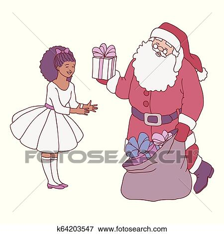 89250a5c7708 ... box to little girl in festive dress in sketch style - happy child  receiving long-awaited Christmas and New Year present isolated on white  background.