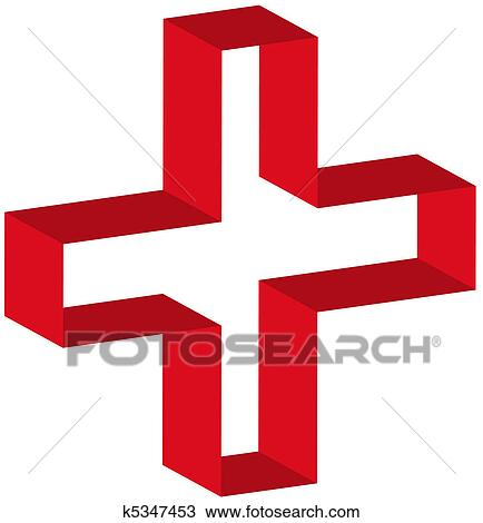 Drawing Of 3d Red First Aid Symbol Outline K5347453 Search Clipart