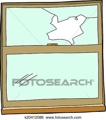 clip art of broken cartoon window k20412086 search clipart rh fotosearch com Broken Glass Window Clip Art Broken Window Clip Art Black and White