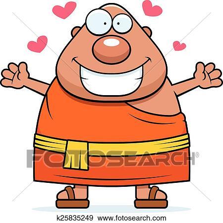 clip art of cartoon buddhist monk hug k25835249 search clipart rh fotosearch com clipart hugging arms clipart hugs friends