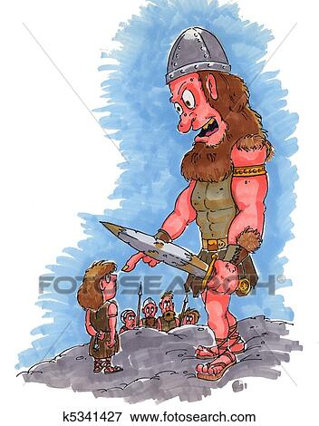 Stock Illustration Of David And Goliath K5341427 Search Eps