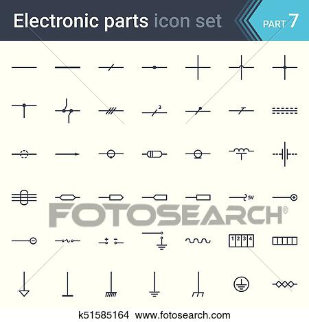 electric-and-electronic-circuit-diagram-clipart__k51585164 Circuit Diagram Symbols Wire