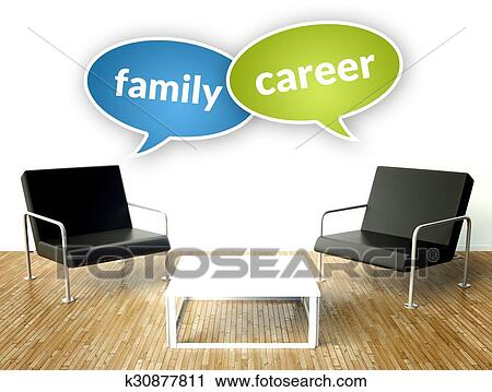 Clipart   Family And Career Concept, Office Interior With Armchairs.  Fotosearch   Search Clip