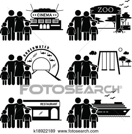 A Set Of Human Pictogram Representing Family Outing And Activities At Various Places Cinema Zoo Underwater Theme Park Playground Restaurant