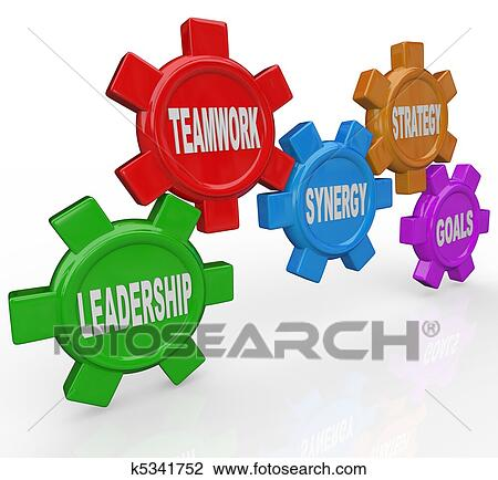 clip art of gears leadership teamwork synergy strategy goals rh fotosearch com leadership clipart pictures leadership clipart images