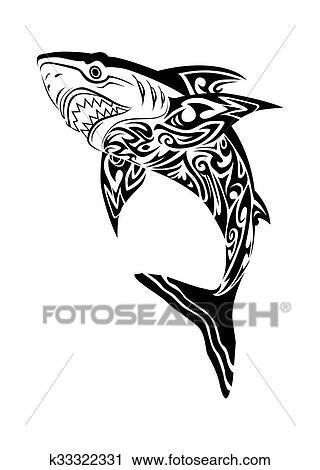 Hideous Shark Tattoo Clip Art