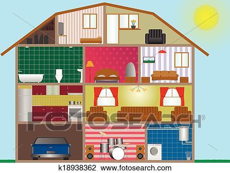 Maison int rieur clipart k18938362 fotosearch - Dessin d interieur de maison ...