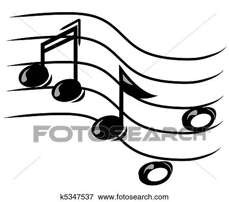 Stock Illustration Of Musical Note On Staff K5347537