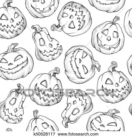 Black and White Cartoon of Two Goofy Pumpkins - Royalty Free Clipart Image