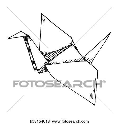 Hand Draw Of A Origami Crane Stock Illustration - Illustration of ... | 470x450