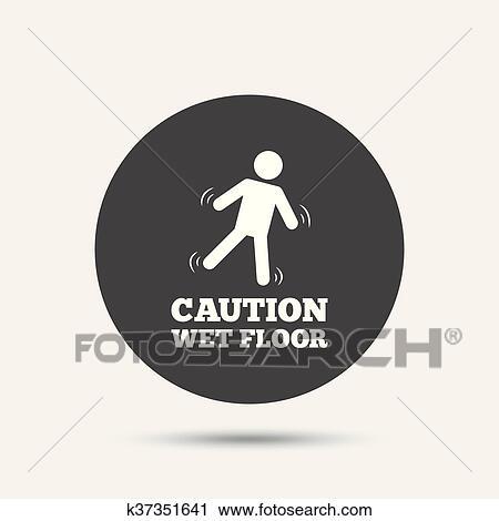 Clipart - warnen nassen boden, icon., menschlich, fallender, symbol ...