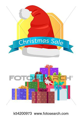 Christmas Piles Of Gift Boxes Decorative Wrapping Clipart