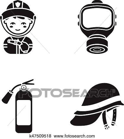 Clip Art Feuerwehrmann Gasmaske Feuerlöscher Helmet Feuerwehr
