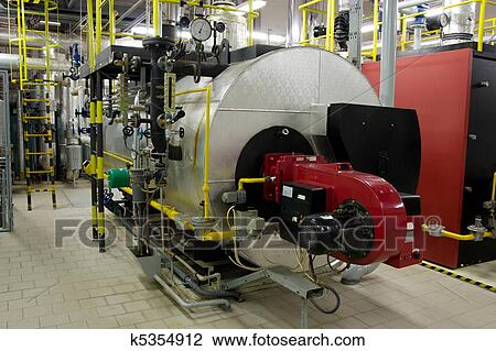 Stock Photo of Gas boilers in gas boiler room k5354912 - Search ...