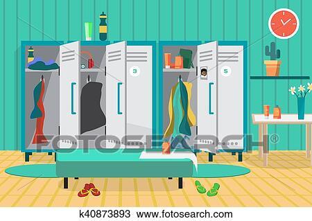 Interior Of A Gym Locker Room Dressing Place A Fitness