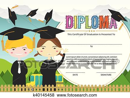 Clip Art Of Kids Diploma Certificate Template K40145458 Search