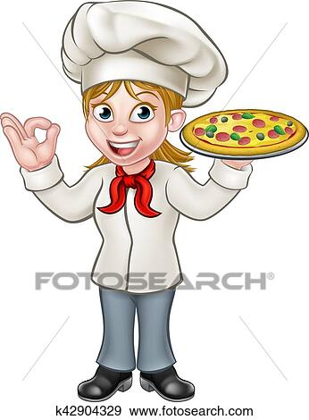 Clipart Pizza Chef Cuistot Femme Dessin Animé Caractère