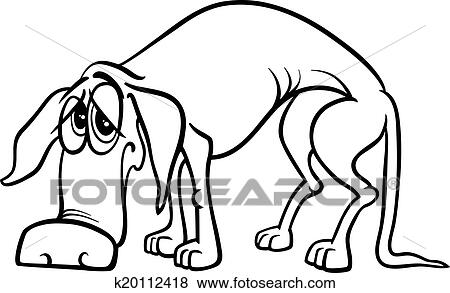 Black And White Cartoon Illustration Of Sad Homeless Dog For Coloring Book
