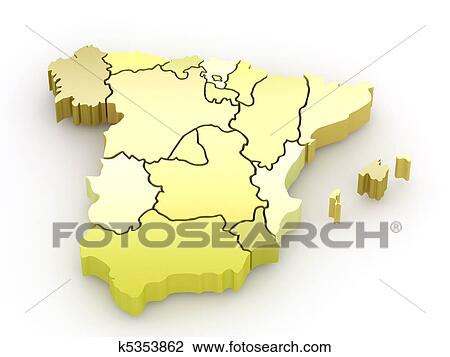 3d Map Of Spain.Three Dimensional Map Of Spain 3d Drawing