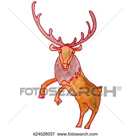 Watercolor Drawing Kids Cartoon Deer On White Background Stock