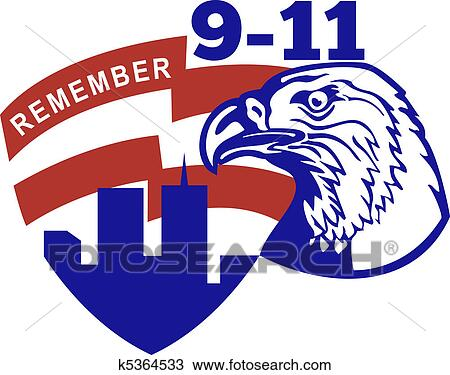 Drawing Of 9 11 American Bald Eagle Flag K5364533 Search Clipart