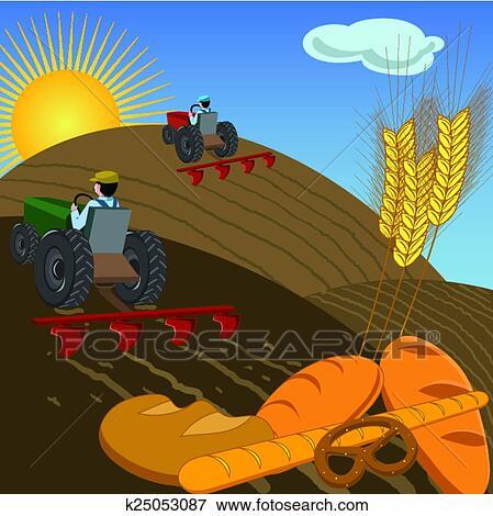 Clipart agriculteurs sur tracteurs labourer les - Labourer la terre ...