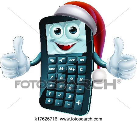 Clip Art of Calculator math christmas character k17626716 - Search ...